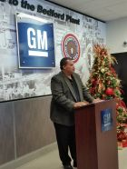Bedford Casting Operations Plant Manager Lamar Rucker announces GM plans to invest $127.4 million, creating about 127 jobs in the future.
